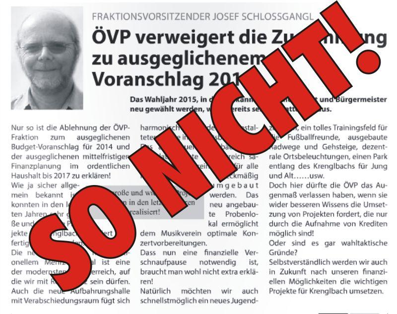 So nicht liebe SPÖ
