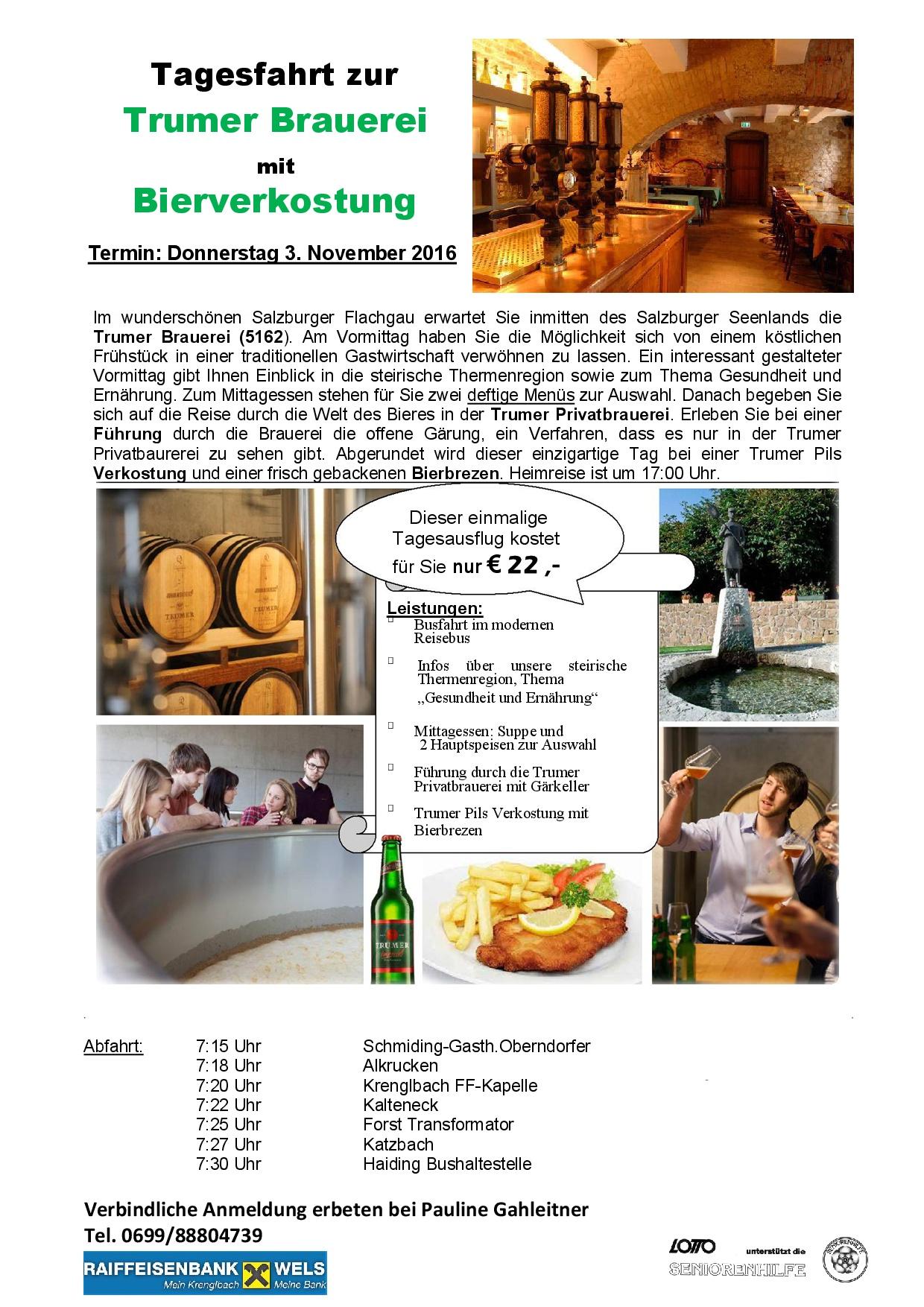 Ausflug zur Trumer Brauerei